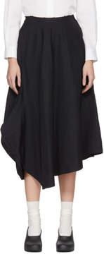 Comme des Garcons Navy Skewed Panelled Skirt