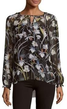 Context Floral Splitneck Tie Top