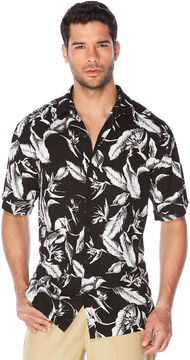 Cubavera Sketched Leaf All Over Shirt