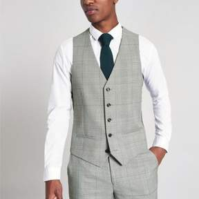 River Island Mens Grey check suit vest