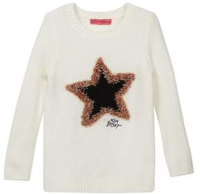 Betsey Johnson Fuzzy Sweater with Star Eyelash Lurex Intarsia (Little Girls)
