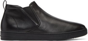 Prada Black Leather Mid-Top Slip-On Sneakers
