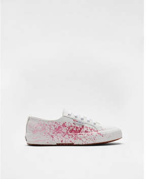 Express superga leather splatter sneakers