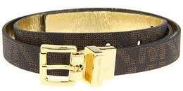 Michael Kors Signature Logo Reversible Brown / Gold Skinny Thin Belt 3/4 Inch Gold Buckle Size X-large