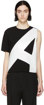 Anthony Vaccarello Black and Grey Asymmetric Shirt