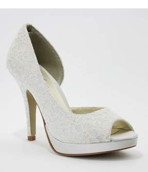 Unique Vintage Ivory Satin & Lace Kelly D'Orsay Peep Toe Heels Shoes
