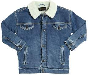 Finger In The Nose Faux Shearling & Stretch Denim Jacket