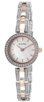 Bulova Crystal White Mother of Pearl Dial Ladies Watch 98L212