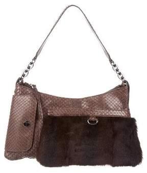 Tod's Fur-Accented Python Shoulder Bag