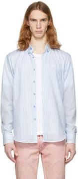 Naked & Famous Denim Denim White and Blue Summertime Stripe Shirt