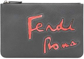 Fendi logo print clutch