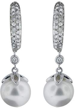 Effy Jewelry 14K White Gold Diamond and Cultured Pearl Drop Earrings, .78 TCW