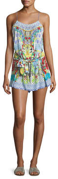 Camilla Shoestring Mixed-Print Silk Romper Coverup