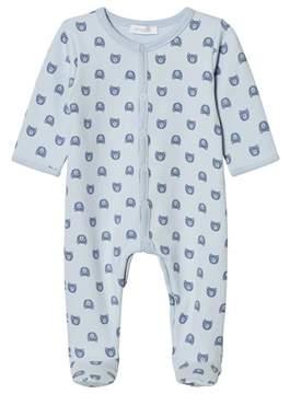 Absorba Pale Blue Bear All Over Print Jersey Babygrow