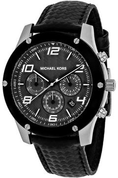 Michael Kors Caine MK8488 Men's Black Leather and Stainless Steel Chronograph Watch