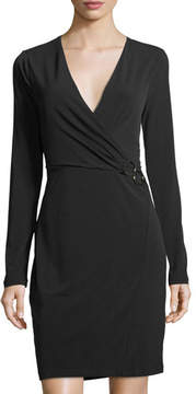 T Tahari Faux-Wrap Knit Dress