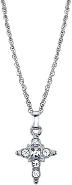 1928 Crystal Cross Pendant Necklace