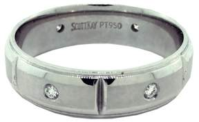 Scott Kay Platinum with 0.15ct. Diamond V-Cut Ring Size 10.0