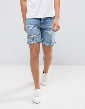 Pull&Bear Ripped Denim Shorts In Mid Wash