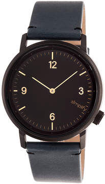 Simplify Black & Slate The 5500 Leather-Strap Watch