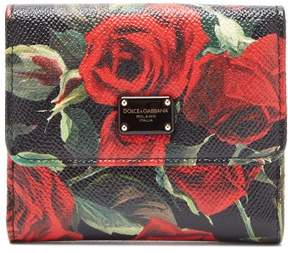 Dolce & Gabbana Rose Print Leather Wallet - Womens - Black Red