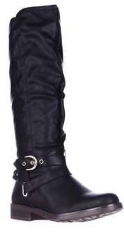 XOXO Martin Wide Calf Braided Strap Riding Boots, Black.