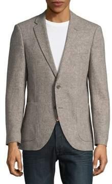 Black & Brown Black Brown Herringbone Wool Button-Front Jacket