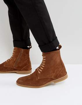 Selected Royce Suede Lace Up Boots In Tan