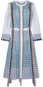 Altuzarra Grenelle Broderie Anglaise-trimmed Swiss-dot Cotton And Chiffon Midi Dress - Sky blue