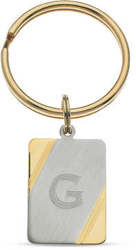 Zales Men's Rectangle Key Chain in White Rhodium Plated Brass and 18K Gold Electroplate (1 Initial)