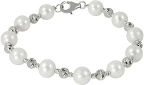 Brilliance+ FINE JEWELRY Cultured Freshwater Pearl & Brilliance Bead Sterling Silver Bracelet