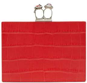 Alexander McQueen Knuckle Crocodile Effect Leather Clutch - Womens - Red