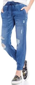 Chelsea & Violet Pocket Distressed Denim Jogger Pant