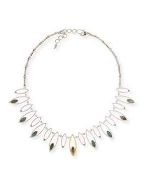 Coomi Marquis Labradorite & Diamond Station Necklace