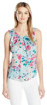 Nine West Floral Printed Pleat Neck Top Shirt