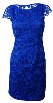 Vince Camuto Women's Illusion-Back Lace Overlay Sheath Dress (2, Cobalt)