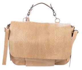 Reed Krakoff Snakeskin-Trimmed Messenger Bag