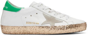 Golden Goose Deluxe Brand White and Gold Glitter Superstar Sneakers