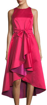 Shoshanna Two-Tone Taffeta Ruffle Midi Dress