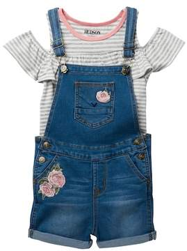 Hudson Stripe Top & Stretch Overall's Set (Toddler Girls)
