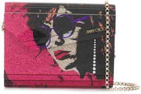 Jimmy Choo Candy glitter face shoulder bag