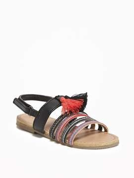 Old Navy Ankle-Strap Tasseled Sandals for Toddler Girls