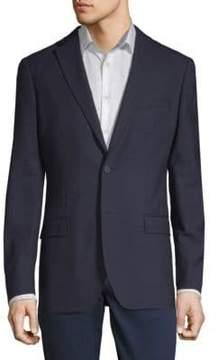 DKNY Slim-Fit Tonal Grid Wool Blazer