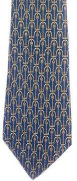 Hermes Stirrup Print Silk Tie