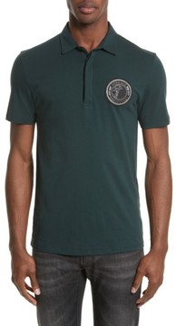 Men's Versace Collection Crest Patch Jersey Polo