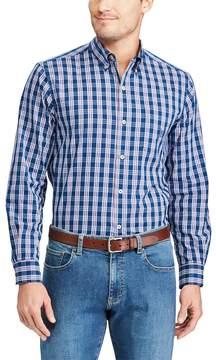 Chaps Big & Tall Regular-Fit Plaid Stretch Poplin Button-Down Shirt