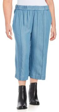 Context Plus Wide-Legged Chambray Cropped Pants