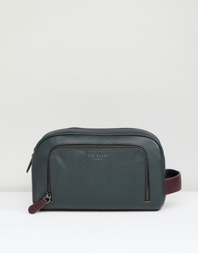 Ted Baker Leather Toiletry Bag In Green