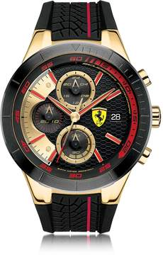 Ferrari RedRev Evo Gold Tone and Red Stainless Steel Case and Silicone Strap Men's Chrono Watch