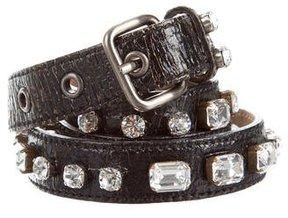 Miu Miu Crystal Embellished Leather Belt